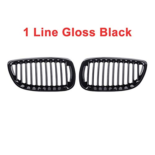 Autorennen-Grills Ein Paar Gloss Black Car Dual Line Frontstoßstange Ierengitter Grill Fit For BMW E92 E93 3-Serie M3 Coupe Cabrio 2006-2009 Frontstoßstange Grille (Color : 1 Line Gloss Black)