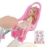 EIRONA Kinderfahrrad Puppensitz mit Aufkleber DIY für Mädchen, Fahrrad Puppen Sitz, Kinderfahrrad Zubehör Rosa
