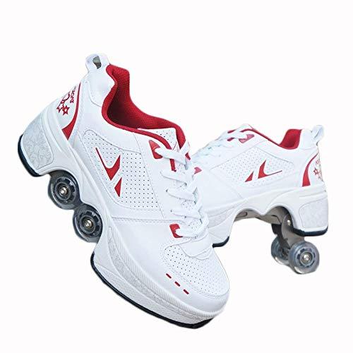 N   A Unisex Enfants Mode Roller Skates Multifonction 2 en 1 Automatiques Rétractables Patins à roulettes Garçons Filles Chaussures D Entraînement De Sport Plein Air Sneakers,40,White Red