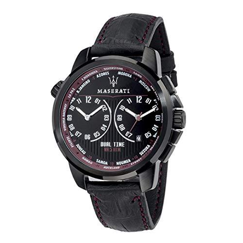 Orologio da uomo, Collezione SUCCESSO, in acciaio, PVD nero, cuoio - R8851121002