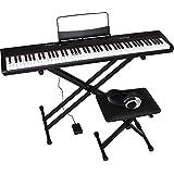 Artesia 電子ピアノ 初心者セット 88鍵 PERFORMER/BK ブラック (サスティンペダル/スタンド/椅子/ヘッドフォン付属)