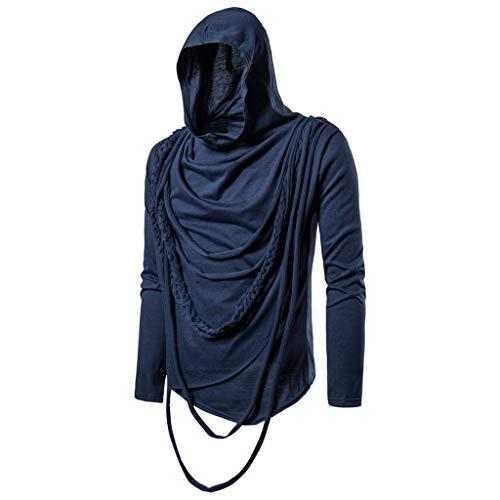 Kapuzenpullover Herren Casual für Pullover für Herren, Holeider Hoodie Einfarbig Kapuzen-Sweatshirt Langarm Polkragen Hoody Kapuzensweater für Männer Hip pop Streetwear