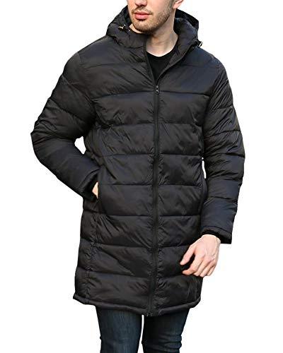 Runcati Mens Warm Down Coat Hooded Down Parka Puffer Jacket Full Zip Long Coat Winter Outwear with Hoodie Black
