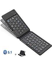 iClever 新型 Bluetoothキーボード 折りたたみ式 軽量 薄型 ワイヤレス ブルートゥース キーボードレザーカバー 財布型 充電式IOS/Android/Windows に対応 スマホ用 スタンド付 日本語説明書18月保証付き IC-BK06Lite