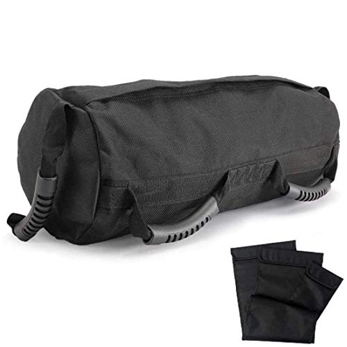 PELLOR Fitness Weights Sandbags, Training Exercise Dynamic Load Heavy Duty Workout Gym Sandbag for Functional Strength Training Exercises (Black (10-60lbs))