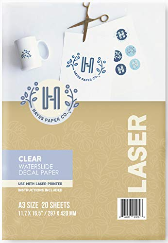 Hayes Paper Co. Waterslide Decal Paper Laser Clear (A3, 20 Sheets)