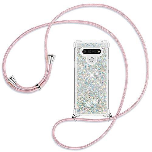 Ptny Handykette kompatibel mit LG Stylo 6 Smartphone Necklace Hülle mit Band, Schnur mit Hülle zum umhängen Stylische Kordel Kette, Kristallklare Handyhülle zum Umhängen, Roségold