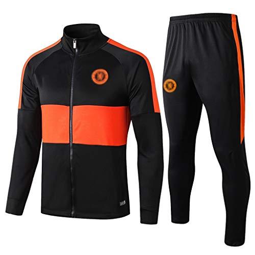 European Football Club Männer Fußball Sweatshirt Langarm Frühling und Herbst Sport Schwarz Trainings-Uniform (Top + Pants) -ZQY-A0391 (Color : Black, Size : L)
