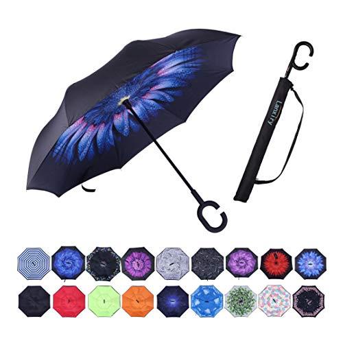 Umbrella,Windproof Waterproof Golf Umbrella,Double Layer Folding Inverted Anti-UV Protection Umbrellas,Reverse Sun Umbrella With C-Shaped Handle,Upside Down Umbrella for Car Rain Outdoor (blue flower)