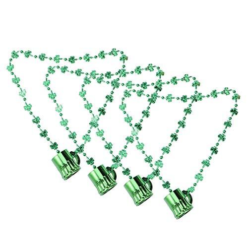 VALICLUD St. Patrick' s Day Becher Perlen Halskette Plastikbecher Anhänger Shamrock Halsketten Party Zubehör (grün)