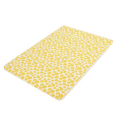 Haowecib Alfombrillas para Mascotas con Estampado de Patas, con Estampado de limón Alfombrilla Suave para Cama para Mascotas, con partículas Antideslizantes Resistentes al Desgaste para(XL, Lemon)