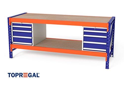 TOPREGAL, werkbank, inpaktafel, industrieel rek, b 230 x h 81 x d 80 cm, multiplexplaat, 2 x WS4 metalen kast met schuifladen / 2 x houten vloeren