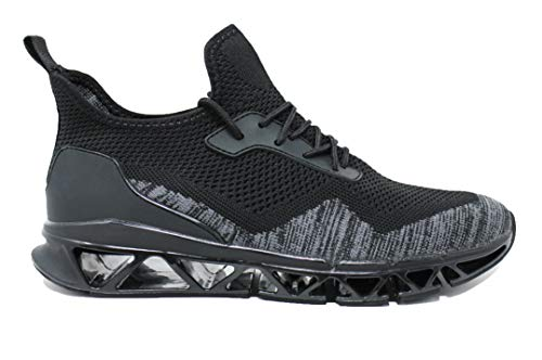 Evoga Sneakers scarpe uomo Ginnastica Running sport Air Flex traspiranti ultra leggere (#A2 Nero...