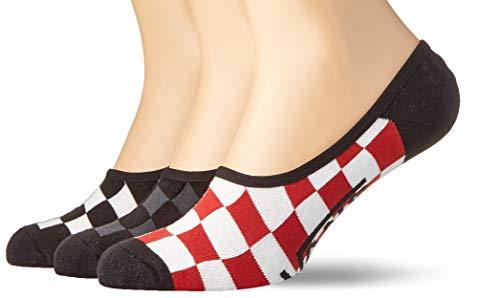 Vans_Apparel Classic Super No Show (9.5-13, 3pk) Calcetines, Rojo (Red-White Check Rlm), Talla única para Hombre