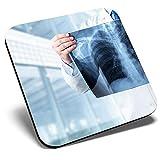 Gran posavasos cuadrado - Radiología Doctor Hospital Rayos X Science | Posavasos de calidad brillante | Protección de mesa para cualquier tipo de mesa #24452