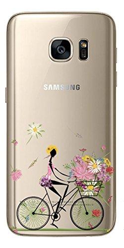 NOVAGO Compatible avec Samsung Galaxy S7 Coque Transparente Souple Ultra Slim et Solide avec Impression Fille Vélo 2