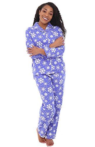 Alexander Del Rossa Women's Warm Flannel Pajama Set, Long Button Down Cotton Pjs, XL Purple Snowflake (A0509Q54XL)