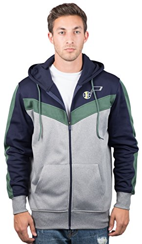 Ultra Game NBA Utah Jazz Mens Soft Fleece Full Zip Jacket Hoodie, Team Color, Medium