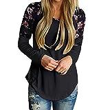 MORCHANFemmes Automne Hiver imprimé Floral Chaud de Base Manches Longues Varsity Tops rayés Blouses t-Shirts Cardigan Sweat-Shirt Manteau Blouson Tunique Pull Blouse(FR-38/CN-M,Noir)