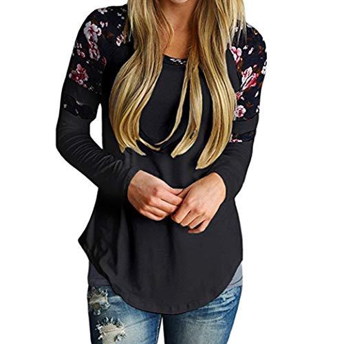 MORCHAN❤Femmes Automne Hiver imprimé Floral Chaud de Base Manches Longues Varsity Tops rayés Blouses t-Shirts Cardigan Sweat-Shirt Manteau Blouson Tunique Pull Blouse(FR-42/CN-XL,Noir)