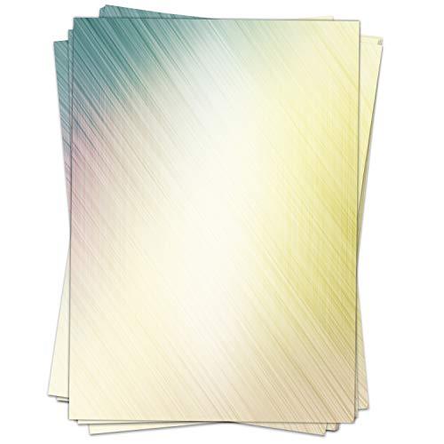 Briefpapier Motivpapier Design-Motiv gelb grün Streifen Lichtreflex - 50 Blatt, DIN A4 Format, Bastel-Papier beidseitig bedruckt
