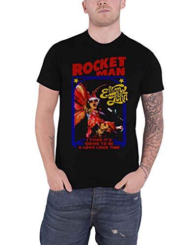 Elton John T Shirt Rocketman Feather Suit Logo Nue offiziell Herren Schwarz