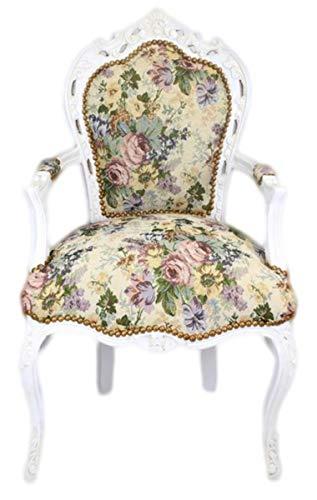Casa Padrino Barock Esszimmer Stuhl mit Armlehnen Blumenmuster/Antik Weiß