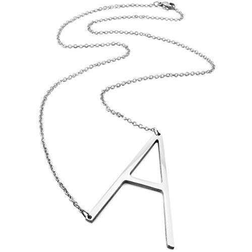 MunkiMix Acero Inoxidable Colgante Collar El Tono De Plata Letra Iniciales,Cadena