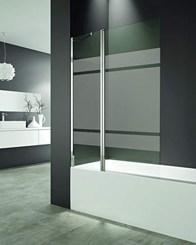 Mampara de bañera - Fijo más Hoja abatible 6 mm con tratamiento anti cal - Medida 150x122 cm - Perfiles aluminio y elevación al girar (FROST PLUS)