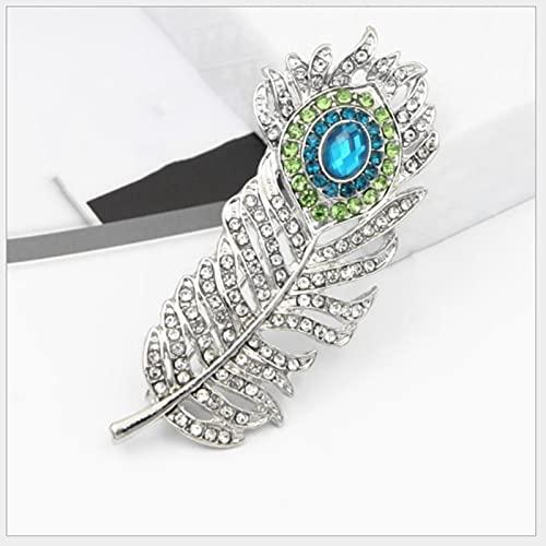 HCMA Broche de Plumas broches de Diamantes de imitación para Mujer Bufanda Hebilla Pin de Solapa y Broche joyería