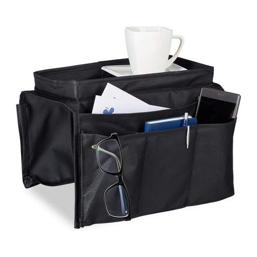 Relaxdays Armlehnen Organizer, Sofa Butler mit Tablett, 6 Taschen, faltbar, Polyester, HxBxT: 22 x 18 x 32 cm, schwarz