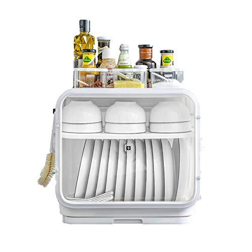 GAONAN Rack de tazón de drenaje multifuncional, estante de cocina con estante de almacenamiento de plato de tapa, caja de almacenamiento de vajillas, armario de encimera de talladora de plato de drena