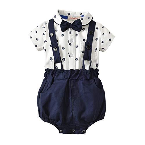 I3CKIZCE Conjunto de body para bebé de 0 a 4 años, 2 piezas de pelele + peto, camisa de manga corta con estampado de lunares, mariposa, vestido de noche, moda dulce y casual blanco y azul. 18-24 meses