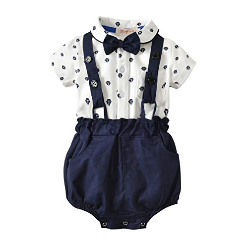 I3CKIZCE Conjunto de body para bebé de 0 a 4 años, 2 piezas de pelele + peto, camisa de manga corta con estampado de lunares, mariposa, vestido de noche, moda dulce y casual turquesa 6-9 Meses