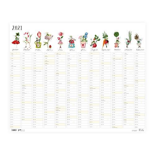 XL Wandkalender Planer 2021 ca DIN A1 | Kalender in Postergröße | Terminplaner groß mit Monatsspalten, Wochennummern und Feiertagen, für die ganze Familie