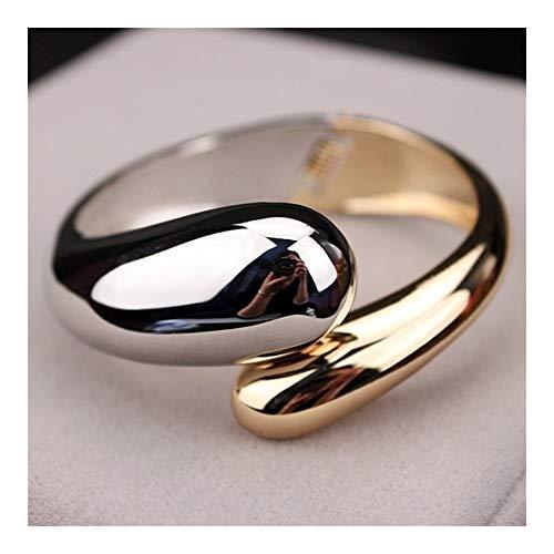 XYBB Brazaletes de la Manera del Color del Oro de la aleación Simple Abierta Ancha brazaletes Pulsera de la Serpiente de Las Mujeres de los brazaletes (Color : A)