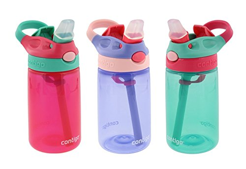 Contigo Kids Water Bottle, 3 Pack Autospout Gizmo - Plastic, 14oz - Leak and Spill Proof Bottles, Ideal for Travel and Activities, Easy-Clean and Dishwasher Safe - Press The Button For Pop Up Straw