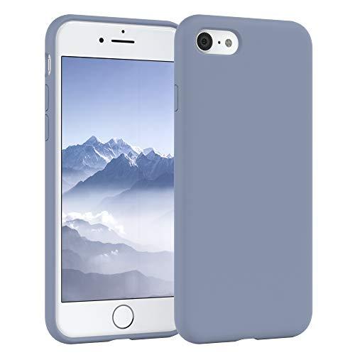 EAZY CASE Premium Silikon Handyhülle kompatibel mit Apple iPhone 8/7 / SE (2020), Slimcover mit Kameraschutz und Innenfutter, Silikonhülle, Schutzhülle, Bumper, Handy Case, Softcase, Eisblau, Blau