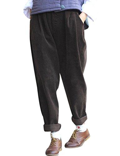 Youlee Frauen-elastische Taille Corduroy Hose mit Taschen Camel Einheitsgröße