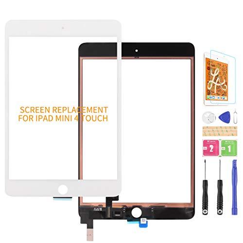 Ersatzdisplay für iPad Mini 4 7.9 2015 A1538 A1550 Touchscreen Digitizer Glas Scheibe Linse Matrix Reparaturteile Kit (kein LCD) (weiß)