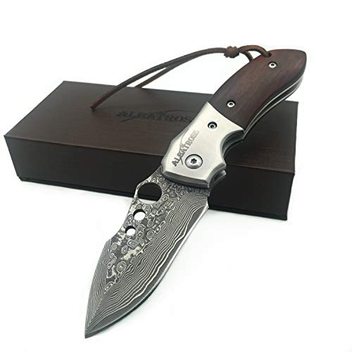 ALBATROSS HGDK007 EDC Sharp Damascus Folding Pocket Knife with Liner...