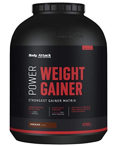 Body Attack Power Weight Gainer, Chocolate, 4,75 kg, 100% Masseaufbau, Kohlenhydrat-Eiweißpulver zum Muskelaufbau mit Whey-Protein, ideal für Hardgainer
