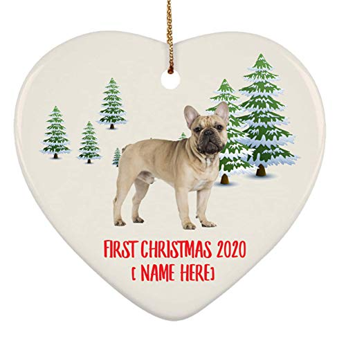 Personalized French Bulldog Fawn Ornaments First Christmas 2020 Tree On Winter Landscape Ceramic Heart