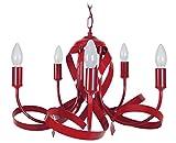 Tosel 20875 Monaco lampadario acciaio/Ferro/Vernice epossidica 40 W E14 rosso 60 x 90 cm, eco halogène