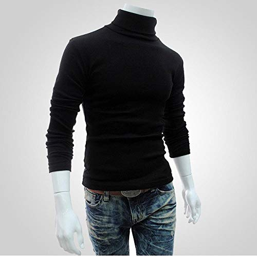 JFHGNJ Winter Warm Coltrui Mannen Mode Effen Gebreide Heren Truien Casual Slim Fit Trui Mannelijke Dubbele Kraag-Zwart_M