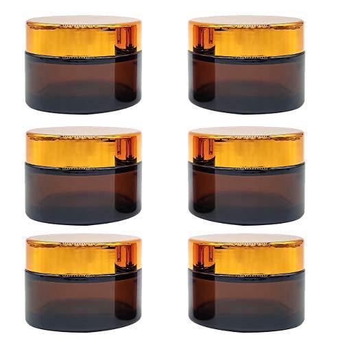Bakiauli Frasco de Crema Facial de Vidrio, Botella de Viaje de 50 ml con Tapa Interior Blanca para Crema Casera
