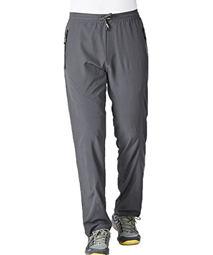 Men's Summer Lightweight Breathable Casual Hiking Running Pants Outdoor Sports Quick Dry Trousers (Grey,L)