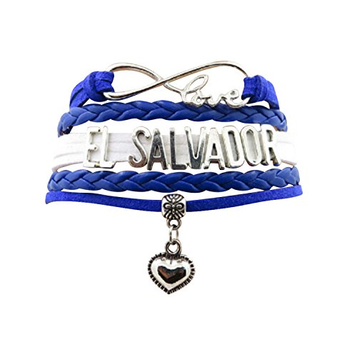 AccessCube Customized Unisex Infinity Leather Metal Country Flag Bracelet Wristband Cuff (El Salvador)