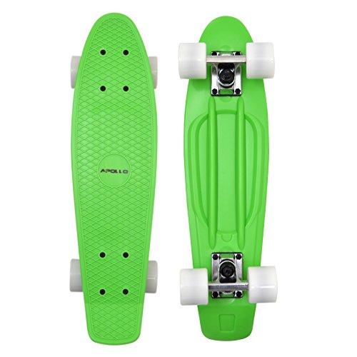 Apollo Fancy Skateboard, Vintage Mini Cruiser, Komplettboard, 22.5inch (57,15 cm), Mini-Board mit Holz oder Kunstsoff Deck mit und ohne LED Wheels, Farbe: Neon Grün/Weiss
