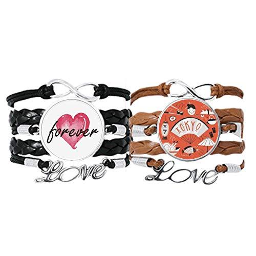 Bestchong Sushi Geisha Japón Tokio Japonés Pulsera de mano correa de cuero cuerda Forever Love Wristband Set doble